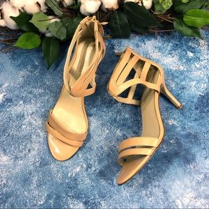 Nine West nude ankle straps heels. Sz 6.5
